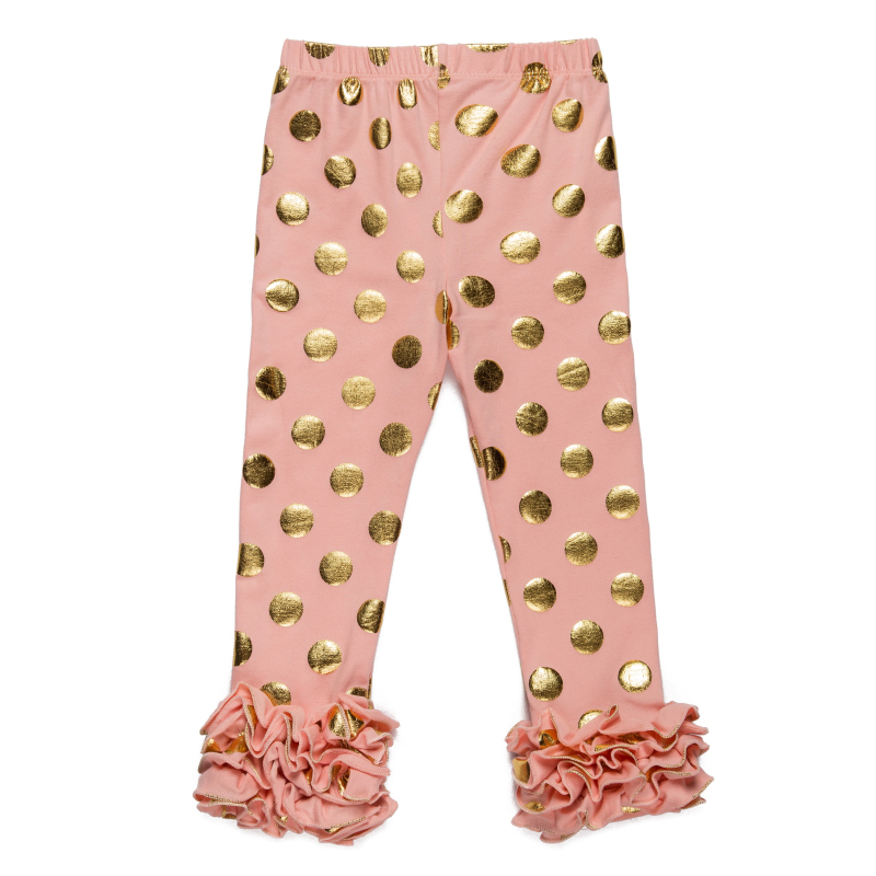 Girls Gold Polka Dot Ruffle Footless Leggings Gold Glitter
