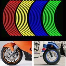 16 шт. наклейки на колеса мотоцикла светоотражающие полосы 12 дюймов водонепроницаемый обод полоса лента скутер велосипед украшения шин для Honda/Suzuki