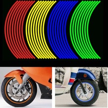 16 Uds. Pegatinas de rueda de motocicleta tiras reflectantes 12 pulgadas cinta de franja de llanta impermeable decoración de neumáticos de bicicleta Scooter para Honda/Suzuki