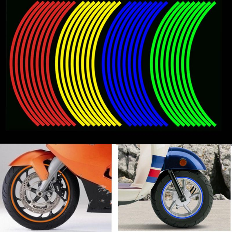 Adeeing Motorcycle 12 - Inch Reflective Wheel Sticker Wheel Ring Waterproof Sticker Hub Tire Decoration Wheel Sticker R30