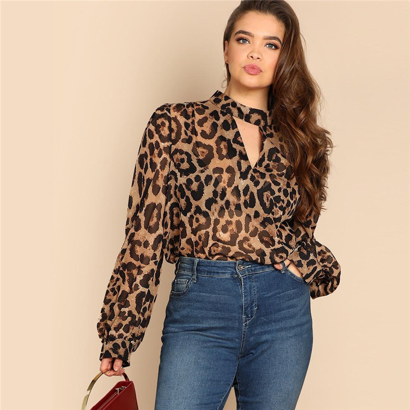 Plus Size Cut Out V Neck Sexy Semi Sheer Leopard Print Blouses