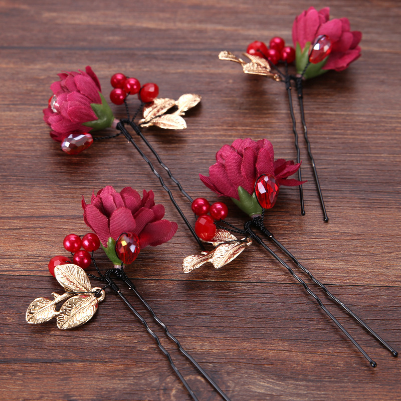 1Pcs Red Flowers Bridal Cloth Hairpin Headdress Bride Handmade Headwear Hairpin