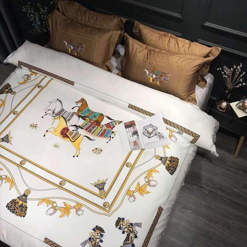 100S Egyptian cotton high quality home textile printed 4pcs Pillowcase Sheets bedding set adult high level duvet cover set #s
