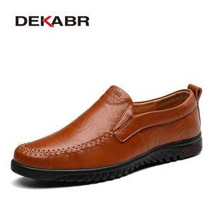 Image 5 - DEKABR גברים נעלי עור אמיתי נוח גברים נעליים יומיומיות הנעלה Chaussures דירות גברים להחליק על נעליים עצלנים Zapatos Hombre
