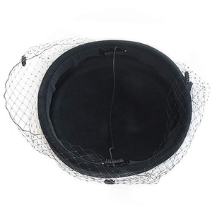 Image 5 - Boîte à pilules en feutre de Fedoras, chapeau classique avec nœud en voile, style fascinant, couvre chef de soirée de mariage, noir et blanc