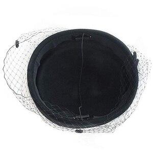 Image 5 - Classical Wool Fedoras Felt Pillbox Hat Veil Bow Women Dress Fascinator Hat Wedding Hat Ladies Derby Party Headwear Black White