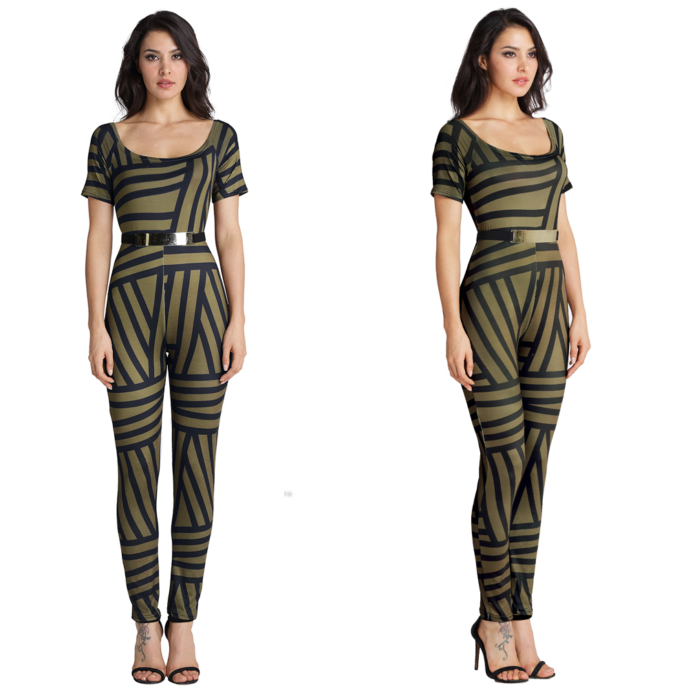 Casual Slash Neck Plaid Printed Ladies Jumpsuit Romper Summer Sexy Women Short Sleeve Trousers Long Pants Overall with Belt