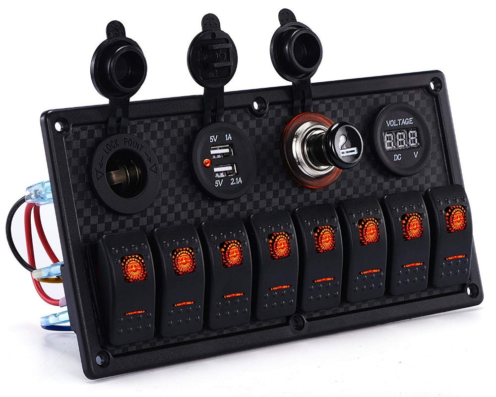 car marine waterproof 5 pin boat rocker switch panel with. Black Bedroom Furniture Sets. Home Design Ideas