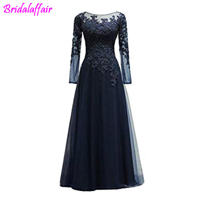 Women's Appliques Tulle Mother of The Bride Dress Long Sleeves Evening Formal Gown mother of the bride dresses vestido noiva