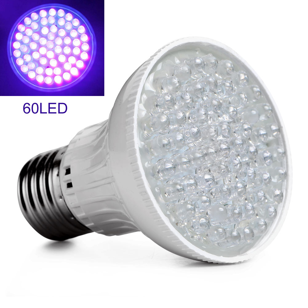 Hot Ultra Bright E27 UV Ultraviolet Color Purple Light 60LED Lamp Bulb 110V UV Purple Light 60LED Plant Grow Light Energy Saving