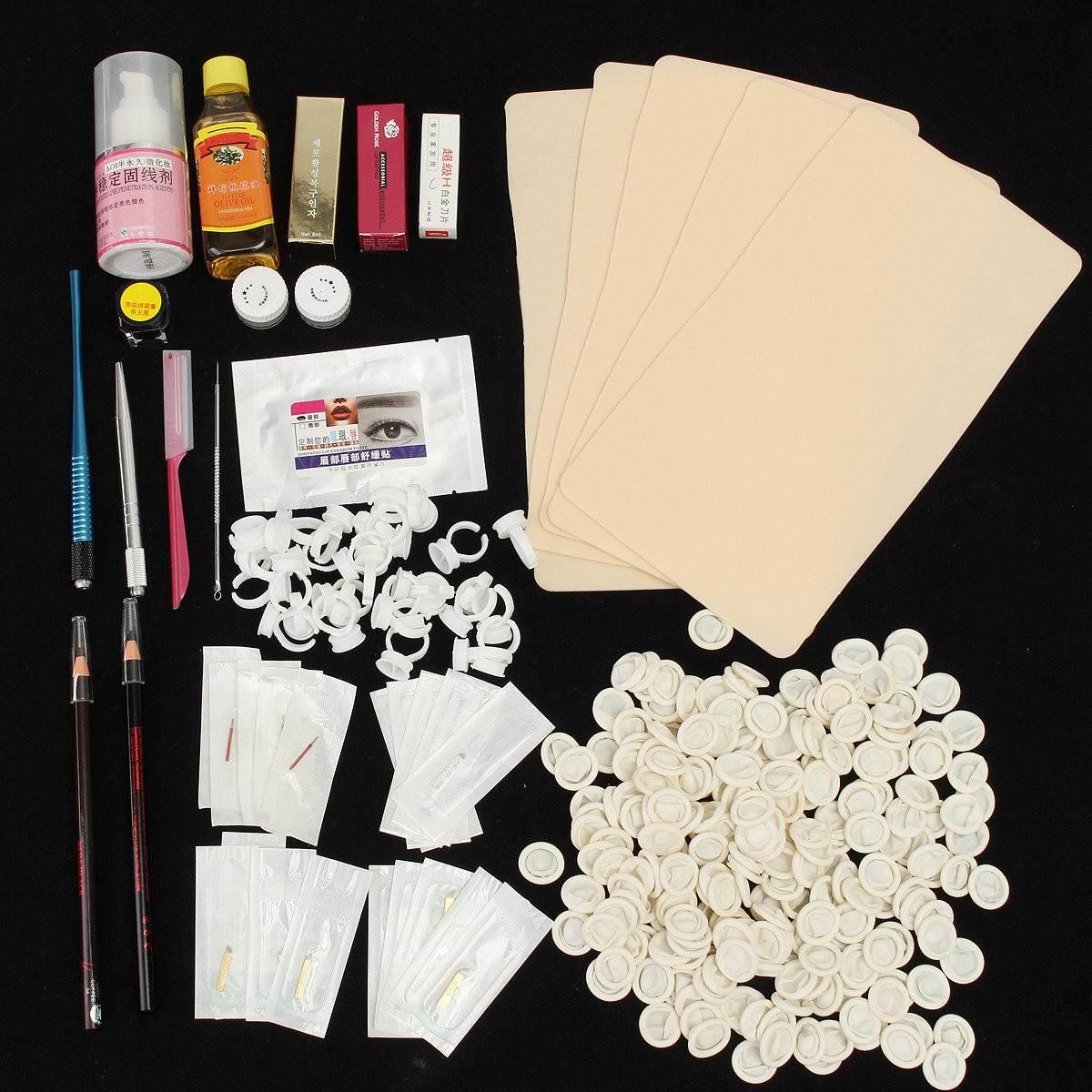 Microblading Eyebrow Kit Permanent Makeup Machine Tattoo Eyebrow Tattoo Pen Needle Paste Skin Essence Tool For Learner User