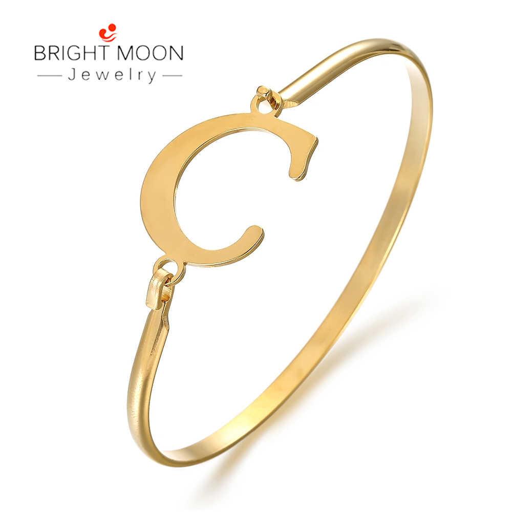 Jasny księżyc moda popularna biżuteria złoty kolor LetterABCD ze stali nierdzewnej mężczyzn bransoletka zapięcie dla dziewczyny kobiet akcesoria