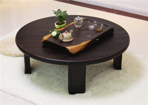 Round Japanese Table Folding Legs 98cm Asian Antique Furniture Dinning  Traditional Floor Low Wooden Coffee Table