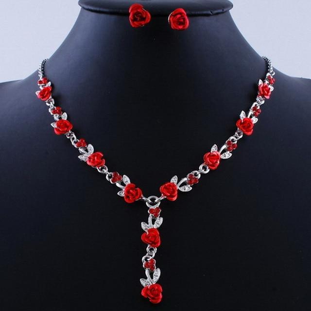Red Rose Flower Jewelry Set 3