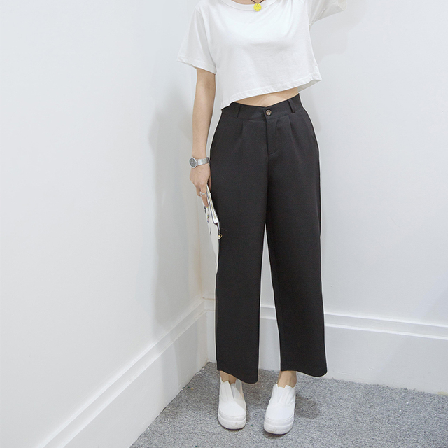 Kesebi J2FE220#8191 Female Classic Casual Ankle-length Trousers Women Fashion Solid Color Loose Waisted Korean Wide Leg Pants