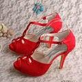 Wedopus Красные Кружевные Свадебные Сандалии Т-ремень Высокий Каблук Peep Toe Обувь