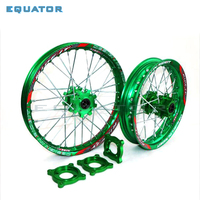 motorcycle Front 1.40x14 Rear 1.85x12 inch Alloy Wheel Rim with CNC Hub 15mm hole For Dirt / Pit bike 12 14 inch Green wheel