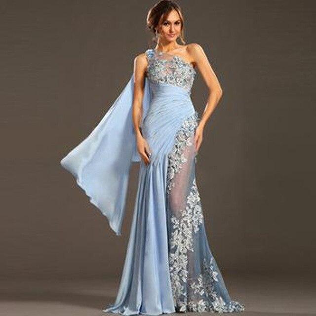 Abendkleider lang one shoulder