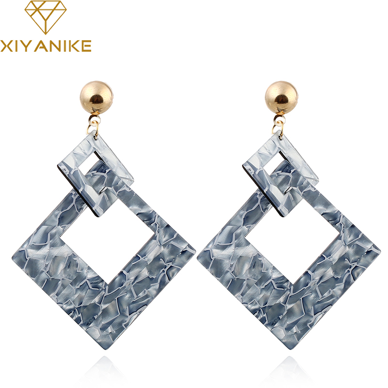 XIYANIKE New Fashion Vintage Double Square Geometry Acrylic Statement Drop Earrings for Women Jewelry Gift Accessories E1474
