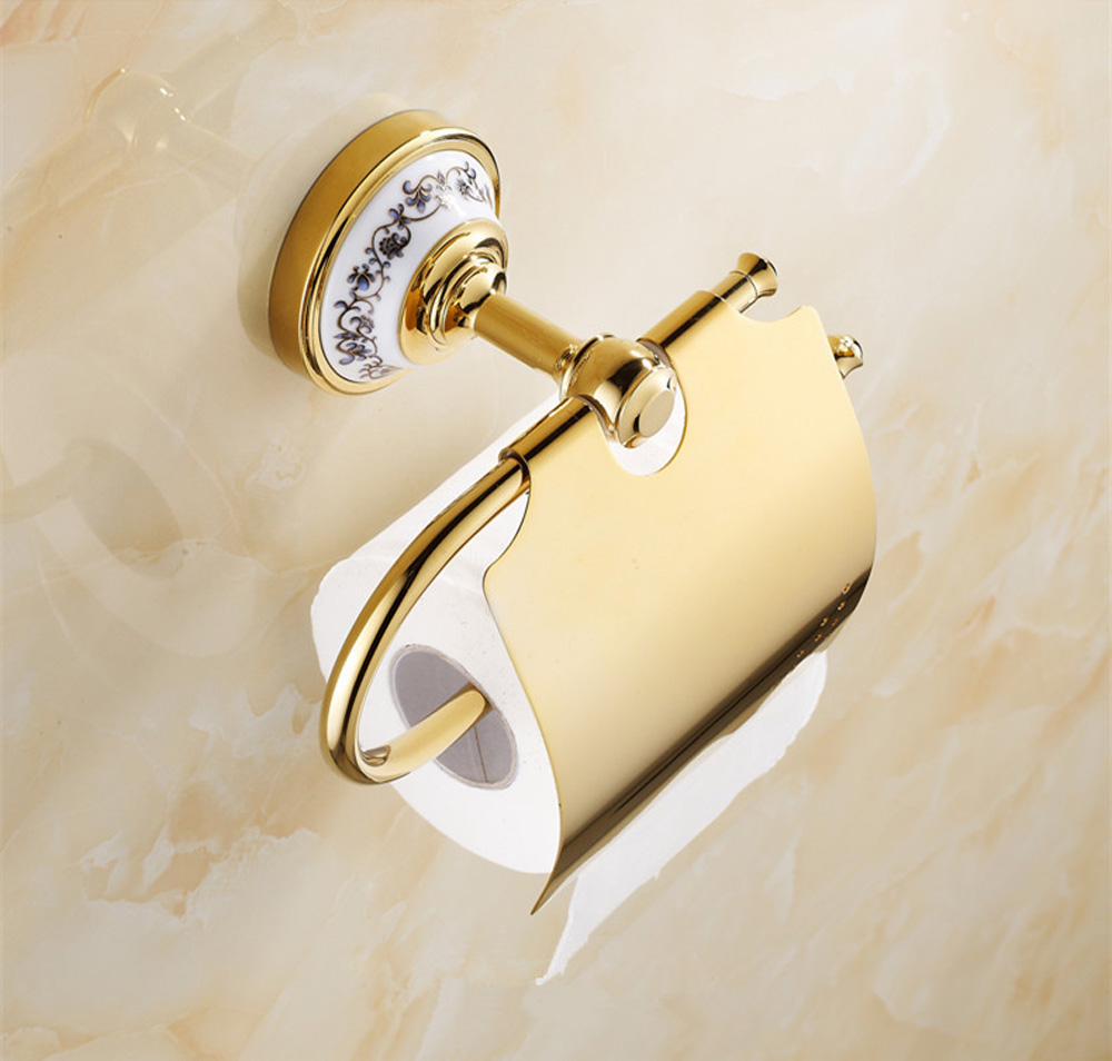 Blue and white porcelain bathroom accessories - Brass Bathroom Paper Holder With Blue And White Porcelain Bathroom Towel Rack Toilet Paper Holder Tissue