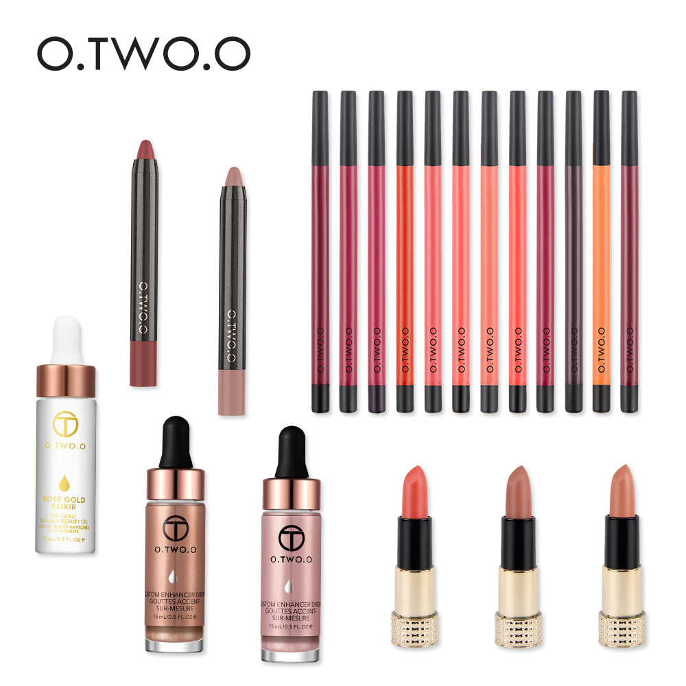 O.TWO.O Makeup Sets Contains Lipstick Lipstick Pen Liquid Highlight Moisturizing Essential Oil Make Beauty of Rose Gold Gift Set rose pink lipstick semi finished product hydra lipstick diy essential can be used in lipstick tube