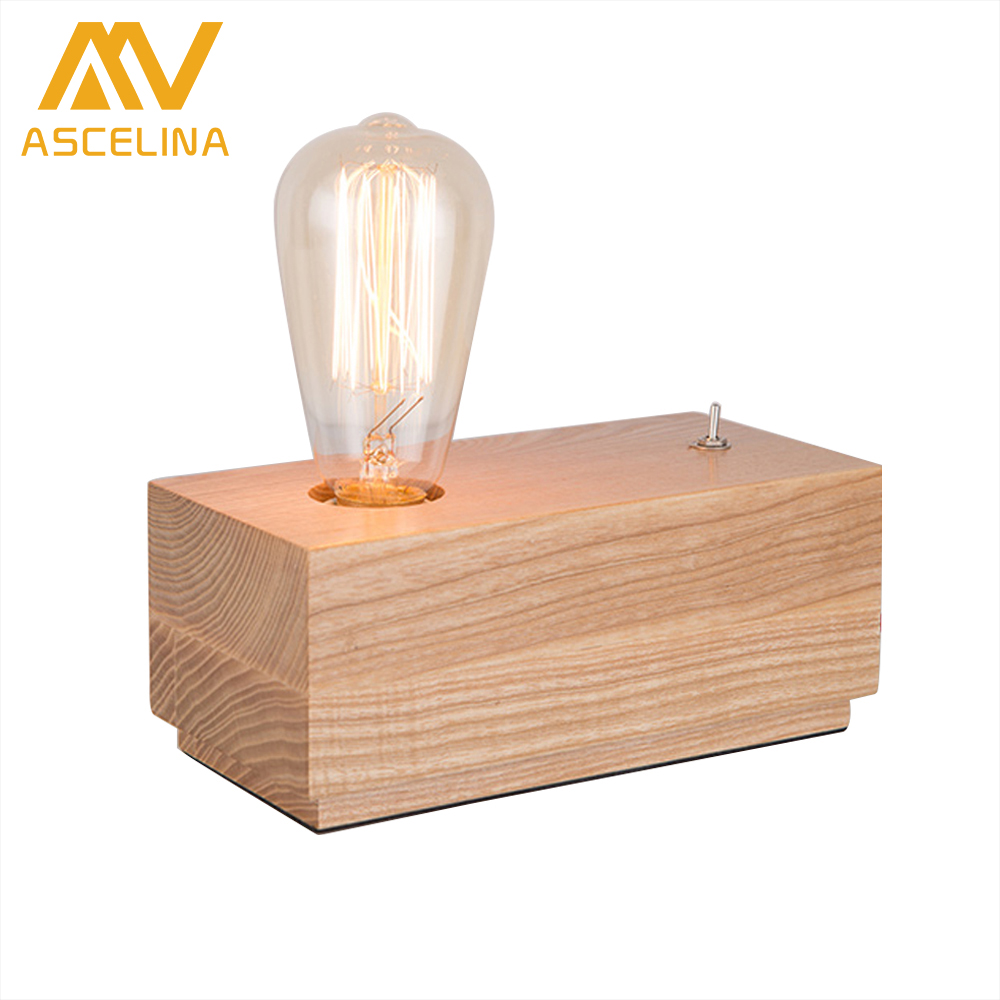 ASCELINA Modern Creative Wooden Cuboid Table Lamp Mini led Night Light Bedside Lamp Perfect for Bedroom/Study room/Office/Cafe