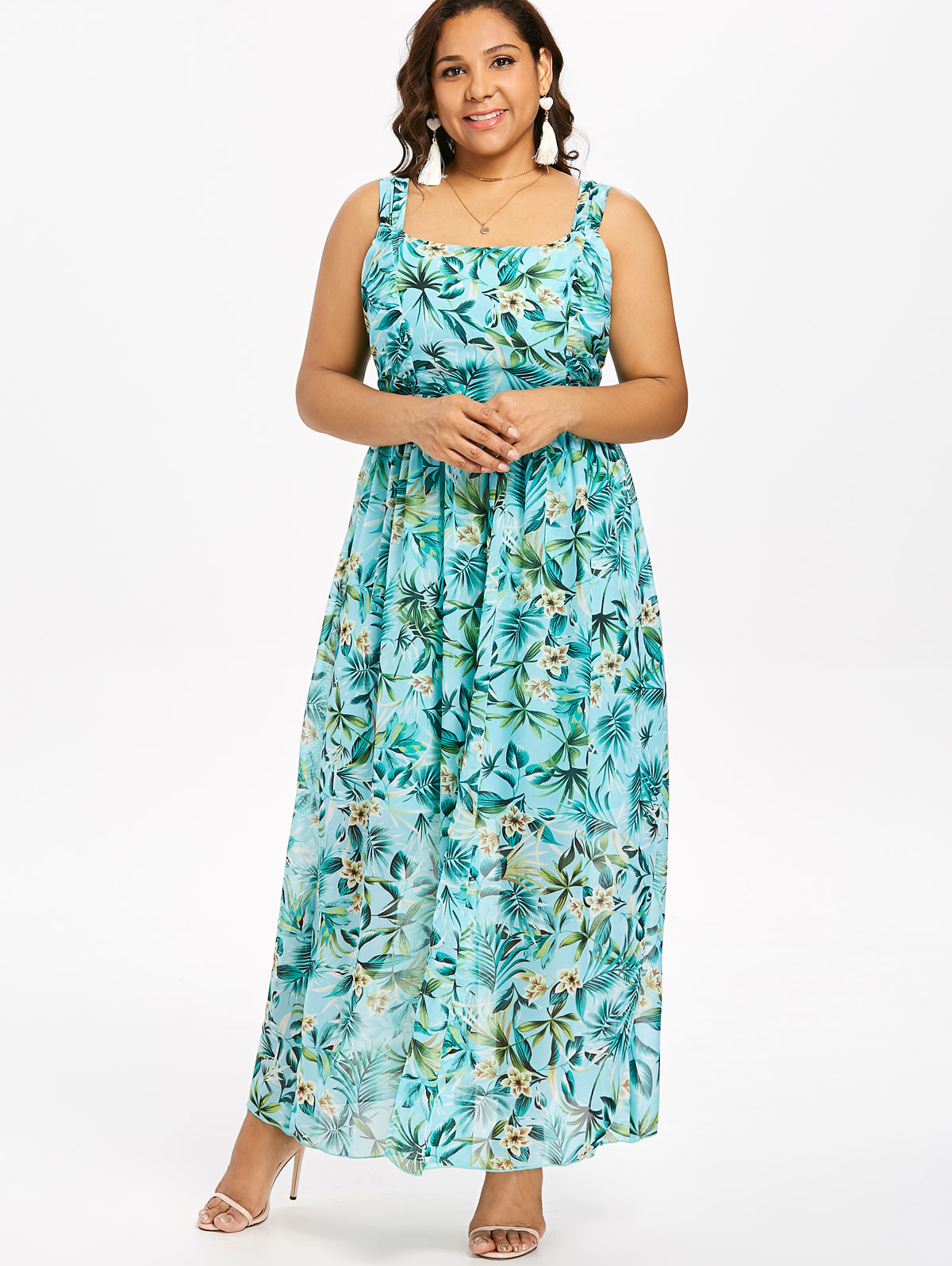 Wipalo Plus Size 5XL Sleeveless Maxi Hawaiian Dress Front Split Floral  Print Dress High Waist Flowing Holiday Dress Vestidos-in Dresses from  Women s ... 7ff726fccc2b