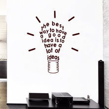 3D Lamp Of Idea quotes Wall Sticker Home Decor Kids Classroom Sticker Decor Living Room Bedroom Accessories Diy Home Dekoration(China)