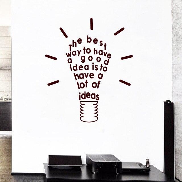 3D Lamp Of Idea quotes Wall Sticker Home Decor Kids Classroom Sticker Decor Living Room Bedroom Accessories Diy Home Dekoration