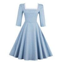 Sisjuly 2017 Summer Square Neck Female Party Dress Light Blue Vintage Polka Dots Lace Up Dresses