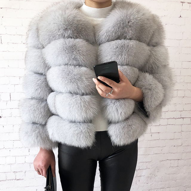 2019 new style real fur coat 100% natural fur jacket female winter warm leather fox fur coat high quality fur vest Free shipping 5