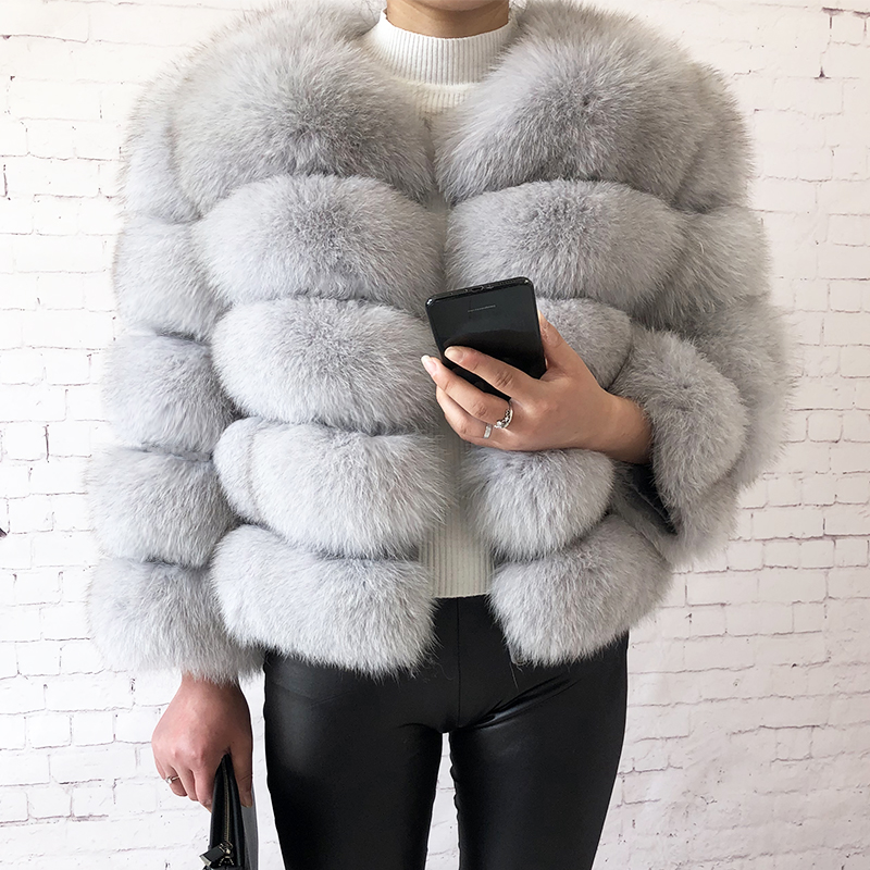 2019 new style real fur coat 100% natural fur jacket female winter warm leather fox fur coat high quality fur vest Free shipping 12