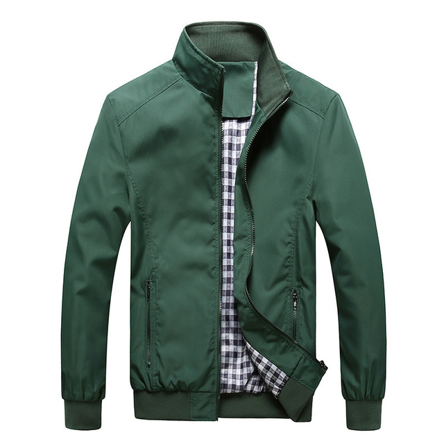 Quality Bomber Solid Casual Jacket Men Spring Autumn Outerwear Mandarin Sportswear Mens Jackets for Male Coats M-5XL 6XL 7XL