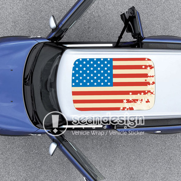 USA Flag D-D-Q  Auto Roof  Decal Sticker One way vision sticker d