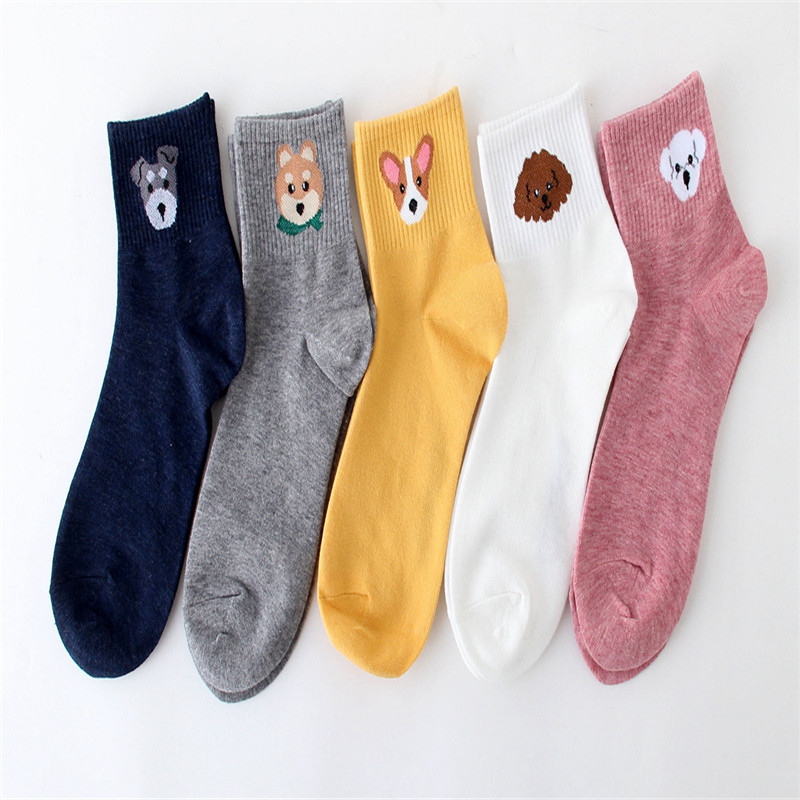 2019 New Cute Cartoon Dog Socks Kawaii Women Combed Cotton Socks Women Funny Cute Animal Shiba Inu Pattern Casual Sock