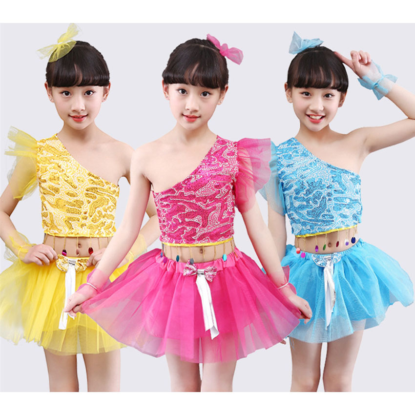 2PCs Kids Latin Dance Costumes Clothing Set Tops+skirt Performance Stage Wear Shoulder Off Vest Princess Lace Sequin Dress