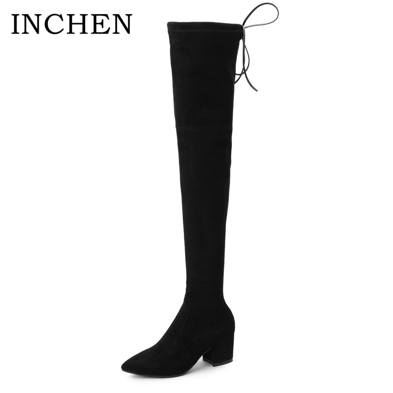 INCHEN Brand High Heel Over The Knee Woman Boots Handmade Thick heel Stretch Fabric+kid Suede Pointed Toe shoes women SWB16-L fashion slim rivets thick heel pointed toe zip winter snow boots genuine leather stretch fabric over the knee boots women boots