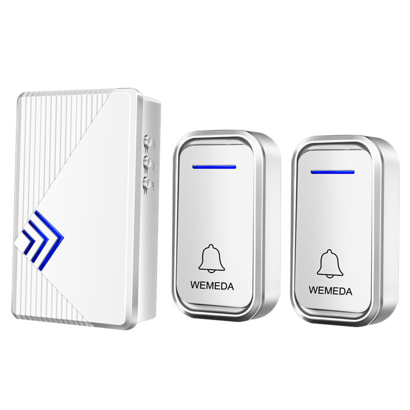 CACAZI High Quality Wireless Door Bell 180M remote DC battery-powered doorbell 2 transmitters+1 receiver 36 rings door chime  cacazi dc wireless doorbell need battery 150m remote waterproof gate door bell chime ring wireless 36 tunes 1 emitter 2 receiver