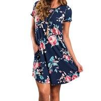 Casaul Floral Print Dress 2017 Women Summer Short Sleeve Party Vestidos Mujer Beach Sundress Pockets Sexy