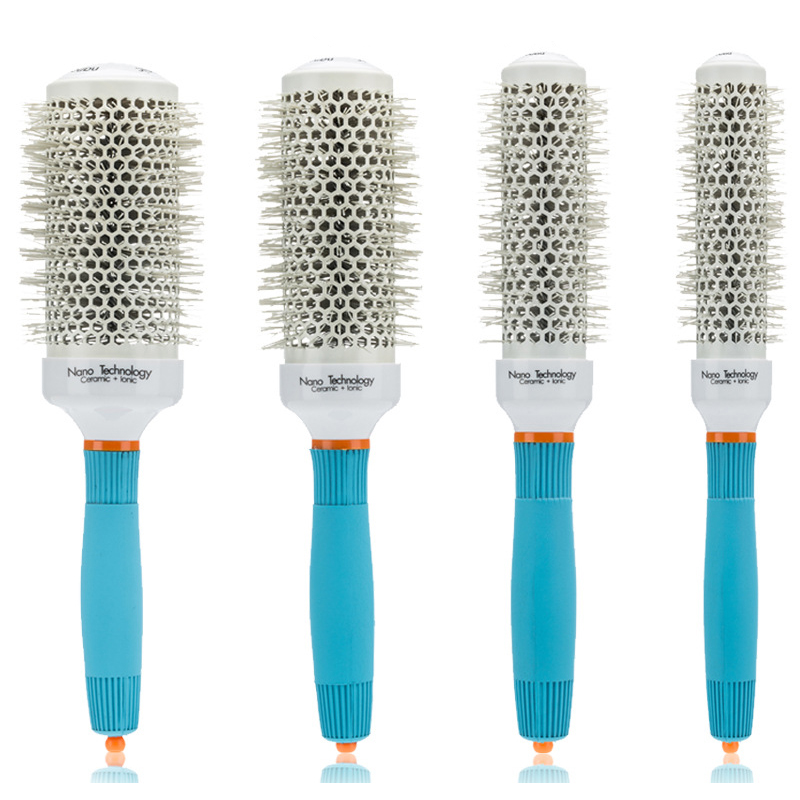 4pcs/set Creramic Round Lonic Brush Roller Comb Anti-static Massage Scalp Professional Round Barrel Curly Hair Comb Brush UN955