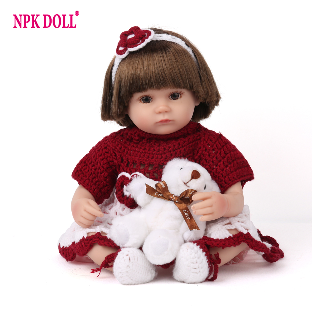 45cm Reborn Baby Doll Girl Gift Soft Silicone 16 inch Red Sweater Cloth Body Kids Playmate Lifelike Doll House Plush Toys45cm Reborn Baby Doll Girl Gift Soft Silicone 16 inch Red Sweater Cloth Body Kids Playmate Lifelike Doll House Plush Toys