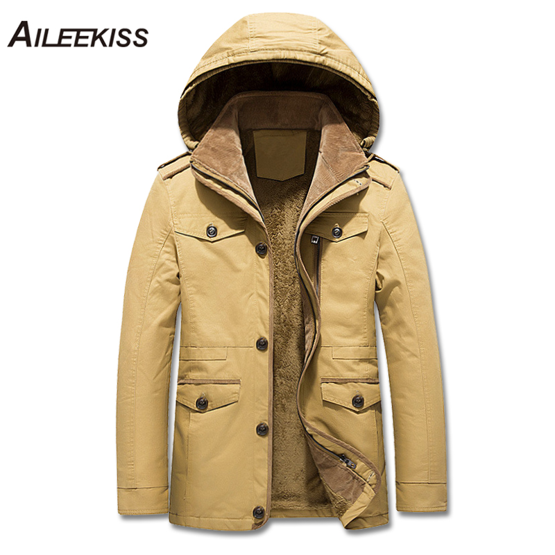 2018 Winter Warm 100% Cotton Hooded Coat Men Long Casual Thicken Windbreaker 5XL 6XL Mens Winter Fashion Solid Outerwear XT377
