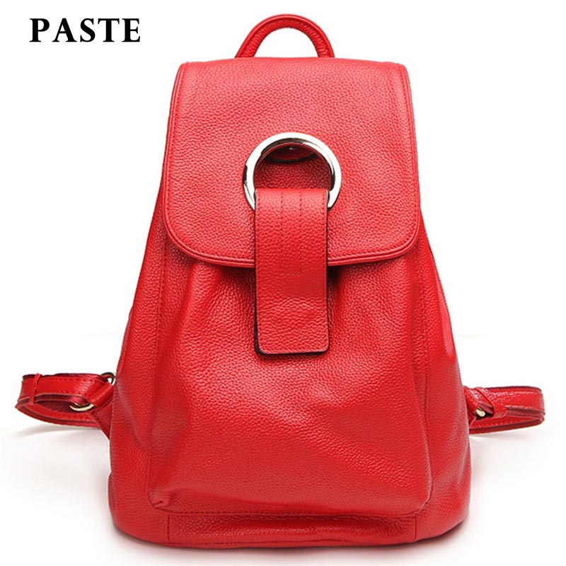 ФОТО PASTE Ladies Genuine Leather Backpacks Bag For Women Black Casual Backpack Female High Quality Designer School Bags Teenagers