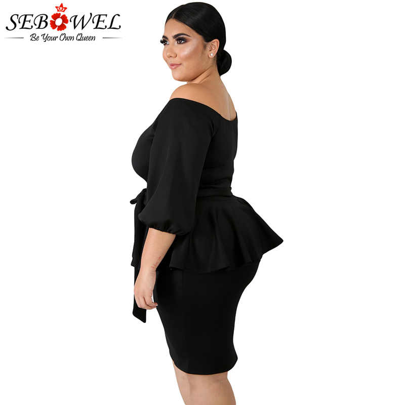 ... SEBOWEL Plus Size Black Peplum Dress Women Elegant Bodycon Party Dress  Office Lady Off Shoulder Dress ... a8496200299c