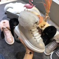 Высокие женские ботиночки со шнуровкой из натуральной замши; Новинка 2019 года; сезон осень зима; теплая женская обувь на меху; кроссовки с уве