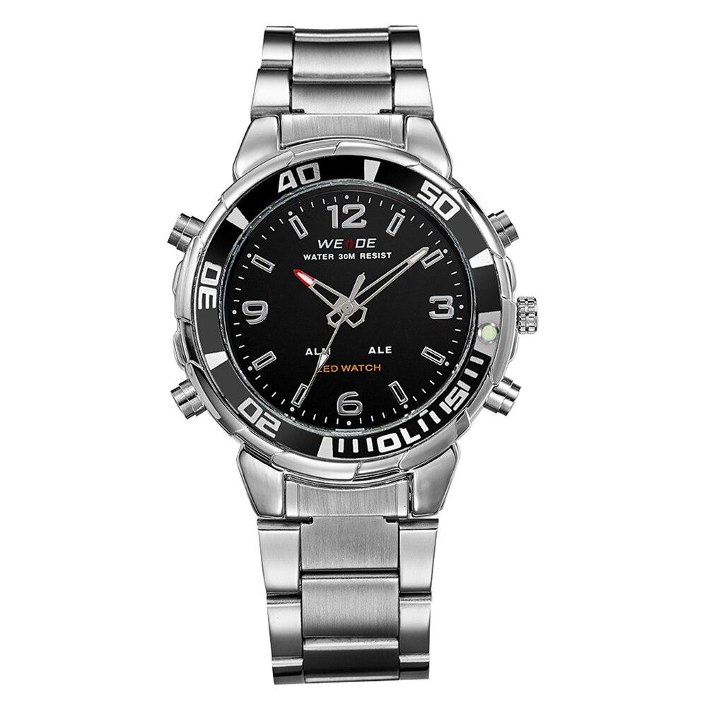28c9f86b97 WEIDE Army Watches Men s Full Steel Luxury Brand Quartz Military Sports  Watch LED Analog Digital Display Wristwatch Sale Items ...