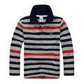 Los niños de calidad superior boy camisas de polo camisa del uniforme escolar muchachas de la camiseta larga ropa de algodón de manga para 7 8 9 10 11 12 13 14 años