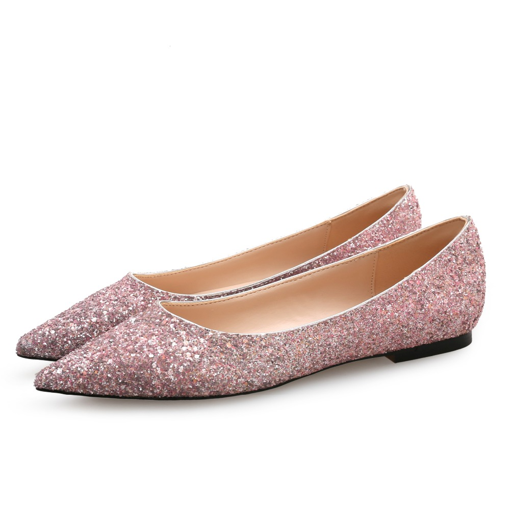 2018 Plus Size 41 Woman Cute Slip On Glitter Flats Female Ballet Wedding Party Gold Flats Ballerina Red Sequins Pink Bling Shoes blue sequin large size gold pointy ballerina sparkling women chinese wedding shoes flats bow party ballet 10 glitter loafers