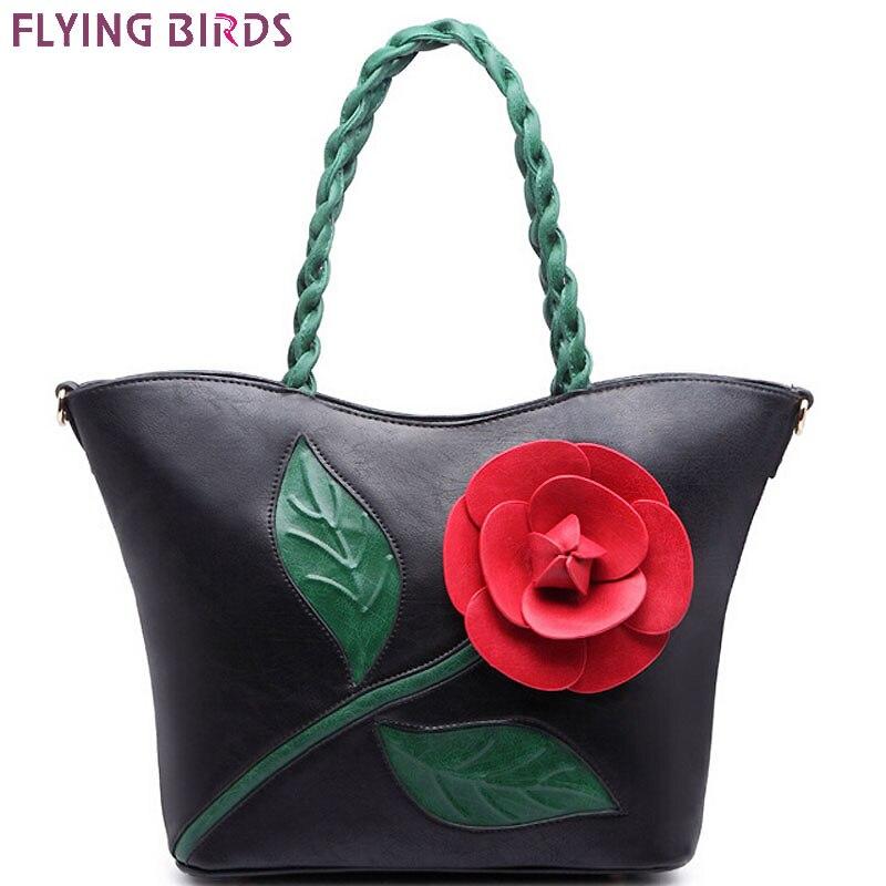 Flying birds!  bolso de cuero de las mujeres famosas marcas de flores retro muje