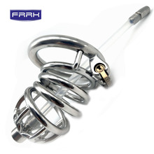 FRRK 6cm chastity cage SM Male device metal cock lock penis in with keyholder Urinary catheter